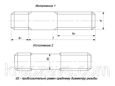 Схема габаритных размеров шпильки ГОСТ 22034-76
