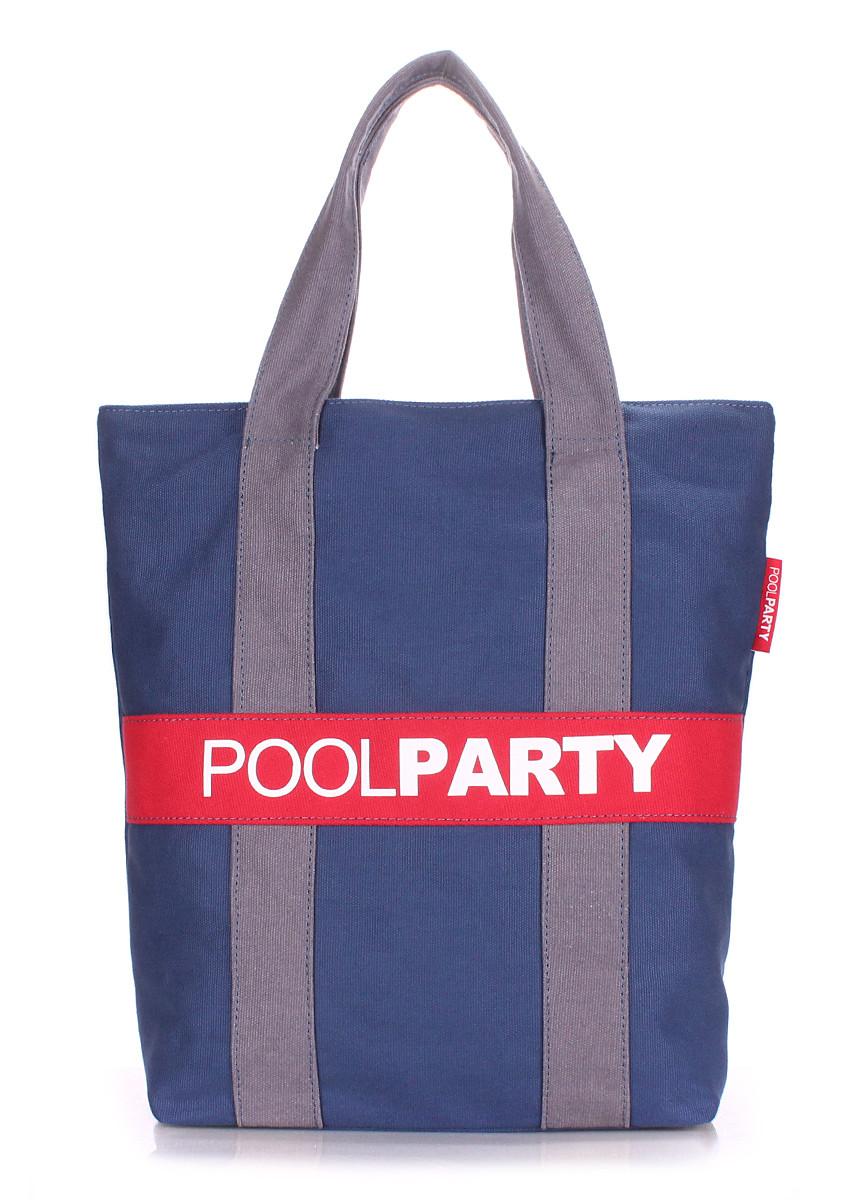 Коттоновая сумка POOLPARTY pool-82-darkblue-grey-red