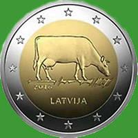Латвия 2 евро 2016 г. Сельское хозяйство Латвии - корова . UNC