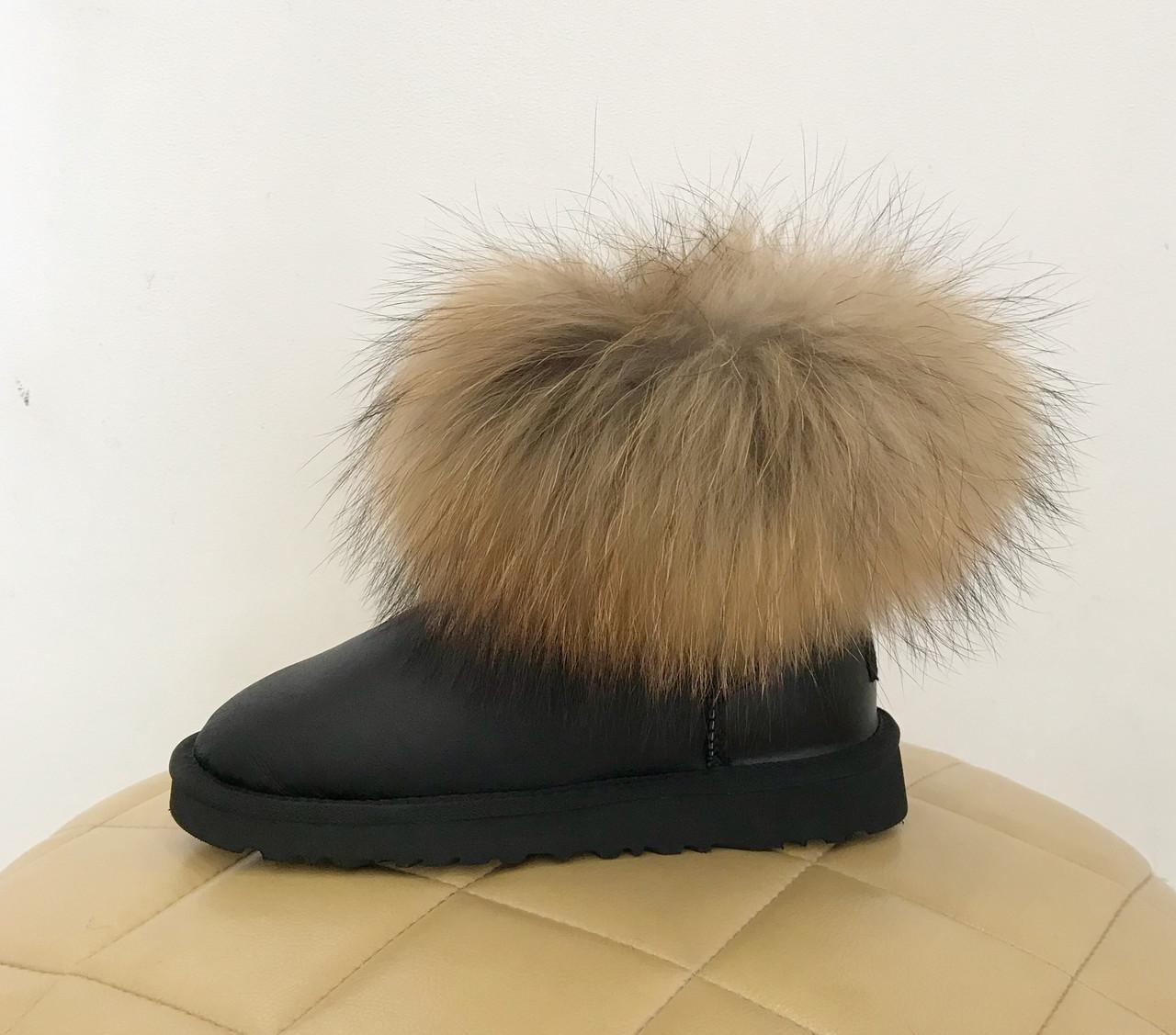 UGG Australia Fur Fox Black Угги мини с мехом лисы черные кожаные