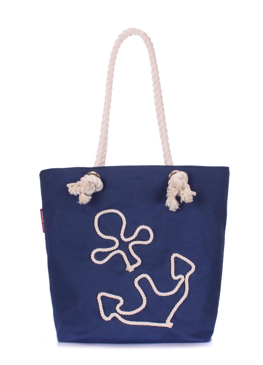 Коттоновая сумка с якорем POOLPARTY anchor-darkblue-none