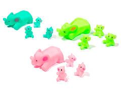 Игрушки для воды Lindo Большой слоник + 3 маленьких Зеленый