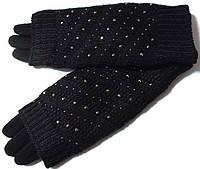 Перчатки на меху и митенки СЕНСОРНЫЕ 2 в 1 черные