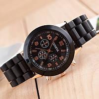 Красивые женские часы Geneva с черным ремешком
