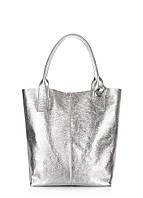 Серебристая кожаная сумка POOLPARTY Podium podium-silver