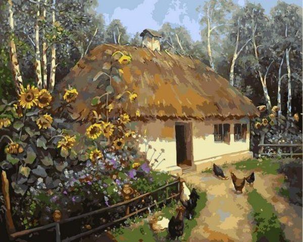 Картины раскраски по номерам 40×50 см. Українська хата