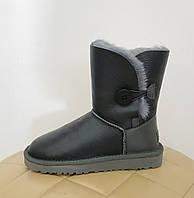 Женские короткие кожаные угги WOMEN'S BAILEY BUTTON UGG® Australia серые