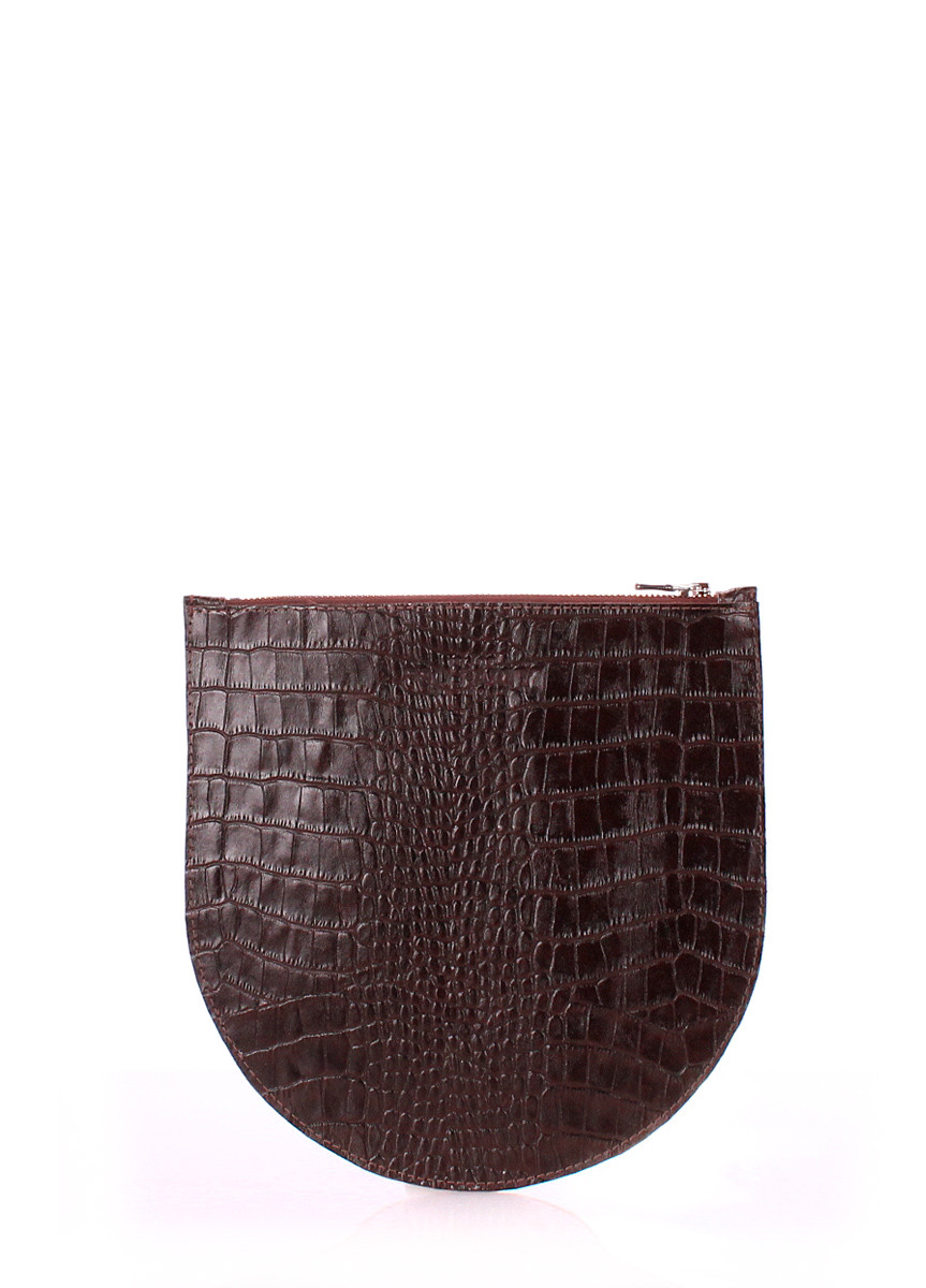 Шкіряна сумочка-клатч POOLPARTY cosmetic-pp1-croco-brown