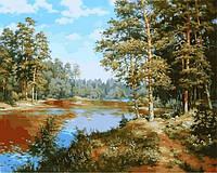 Картини по номерах 40×50 см. Лесное озеро Художник Сергей Басов, фото 1