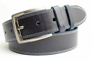 Стильний джинсовий  ремінь з натуральної шкіри  45 мм, гладкий,синій  з  білою  ниткою