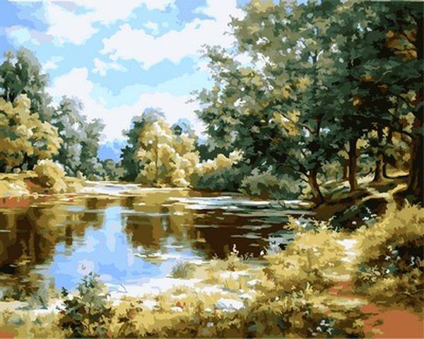 Картини по номерах 40×50 см. Озеро в Лесу Художник Сергей Басов
