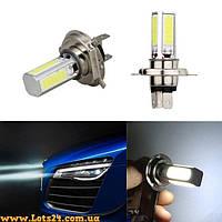 Авто-лампы H4 4 COB LED 6000K (светодиодные, альтернатива DRL и ДХО, лучше за галогеновые и ксеноновые)