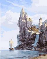 Картины по номерам 40×50 см. Белый замок над водопадом Художник Валерий Черненко