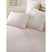 Постельное белье евро размера с вышивкой Cotton box CAPPUCCINO CB57