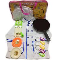 """Набор """"Повар"""" поварской китель,колпак,плита,тарел,доска,сковор...в сумке /48/"""