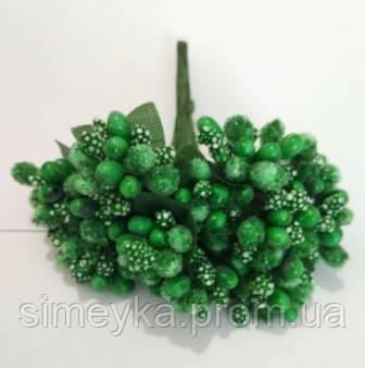 """Додаток к цветам """"рис"""" или """"шишечки"""" зеленые с зелёными листиками, букетик из 11 соцветий, длина проволок 7 см"""