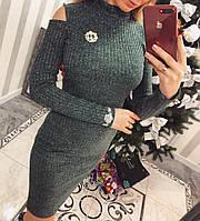 Теплое длинное вязаное платье