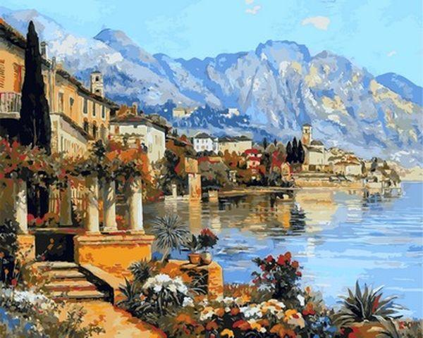 Рисование по номерам 40×50 см. Небольшой городок на озере Гарда Художник Алоис Арнеггер