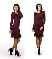 Платье женское новогоднее с фатином 240 бордо СП