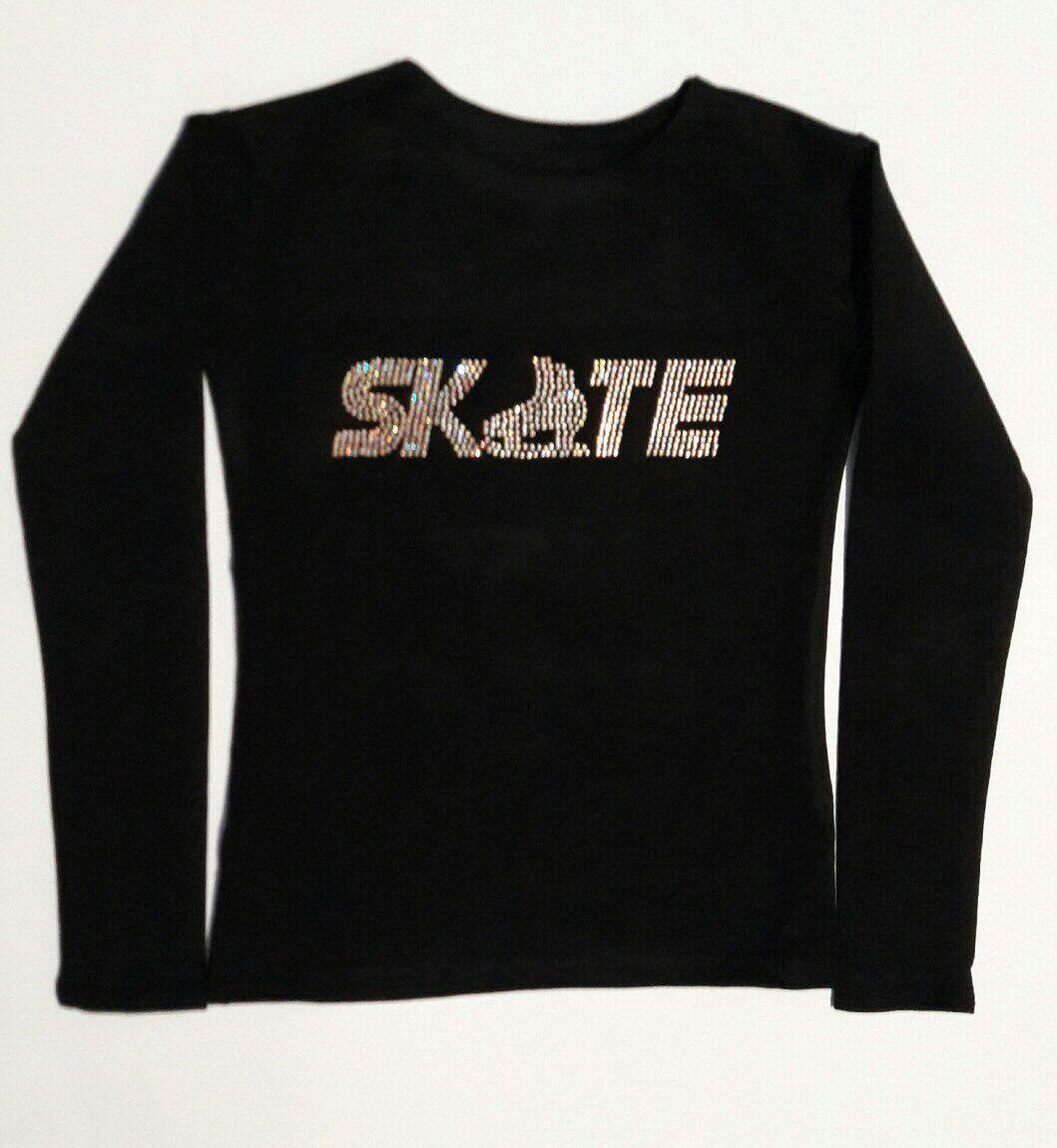 Одежда для тренировок (футболки с коротким и длинным рукавом) с символикой фигурного катания
