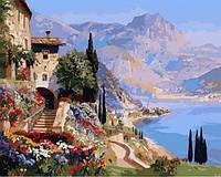 Картины по номерам 40×50 см. Вид Варенны на озере Комо Художник Алоис Арнеггер