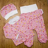 Комплект детский MirAks SC-5006-00 Pink (Розовый/кофта+штанишки+шапочка/кулир)