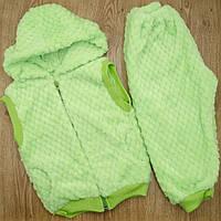 Комплект детский MirAks SCW-5011-00 Light Green (Салатовый/жилетка с капюшоном + штанишки/махра)