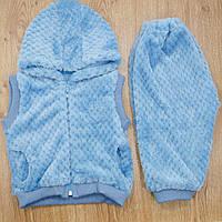 Комплект детский MirAks SCW-5011-00 Sky Blue (Небесно голубой/жилетка с капюшоном + штанишки/махра)