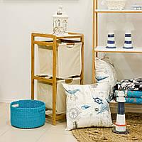 Комод плетеный Home4You NERO  34x33xH78cm  shelves white mat