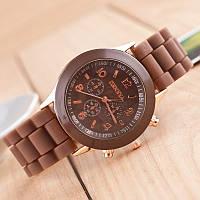Красивые женские часы Geneva с коричневым ремешком