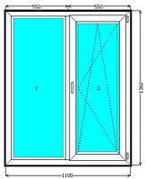 Металлопластиковое двухстворчатое окно EuroLine