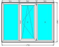 Металлопластиковое трехстворчатое окно Евролайн