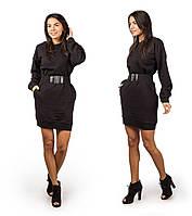 Платье женское новогоднее трехнить с ремнем 300 темно синее СП