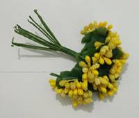 """Додаток к цветам """"рис"""" или """"шишечки"""" золотисто-желтые, букетик из 11 соцветий, длина проволок 7 см"""