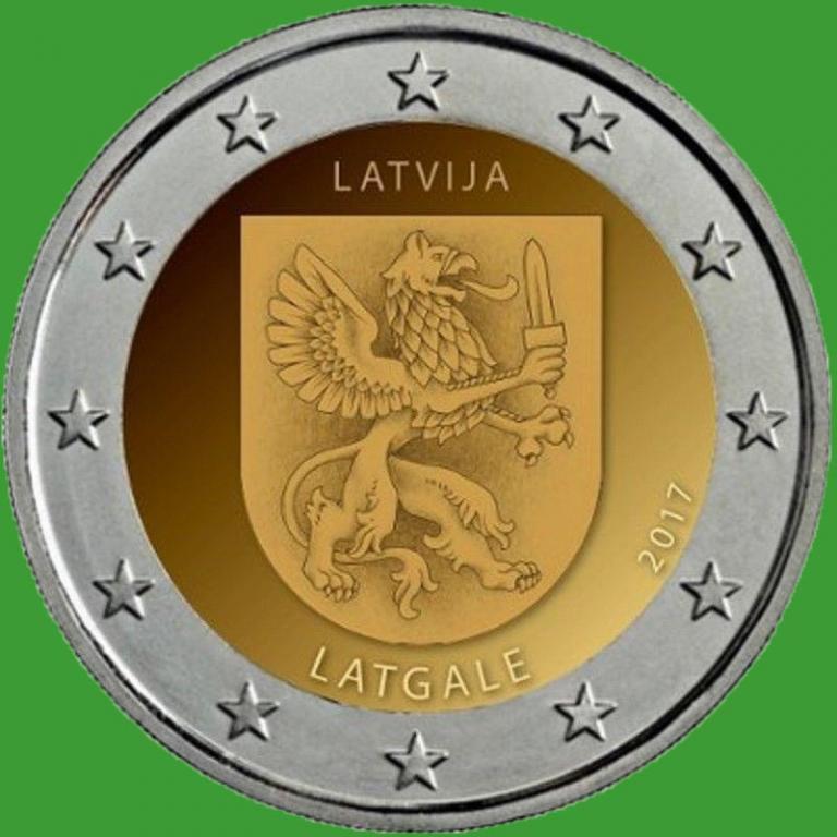 Латвія 2 євро 2017 р. Історична область Латгале . UNC