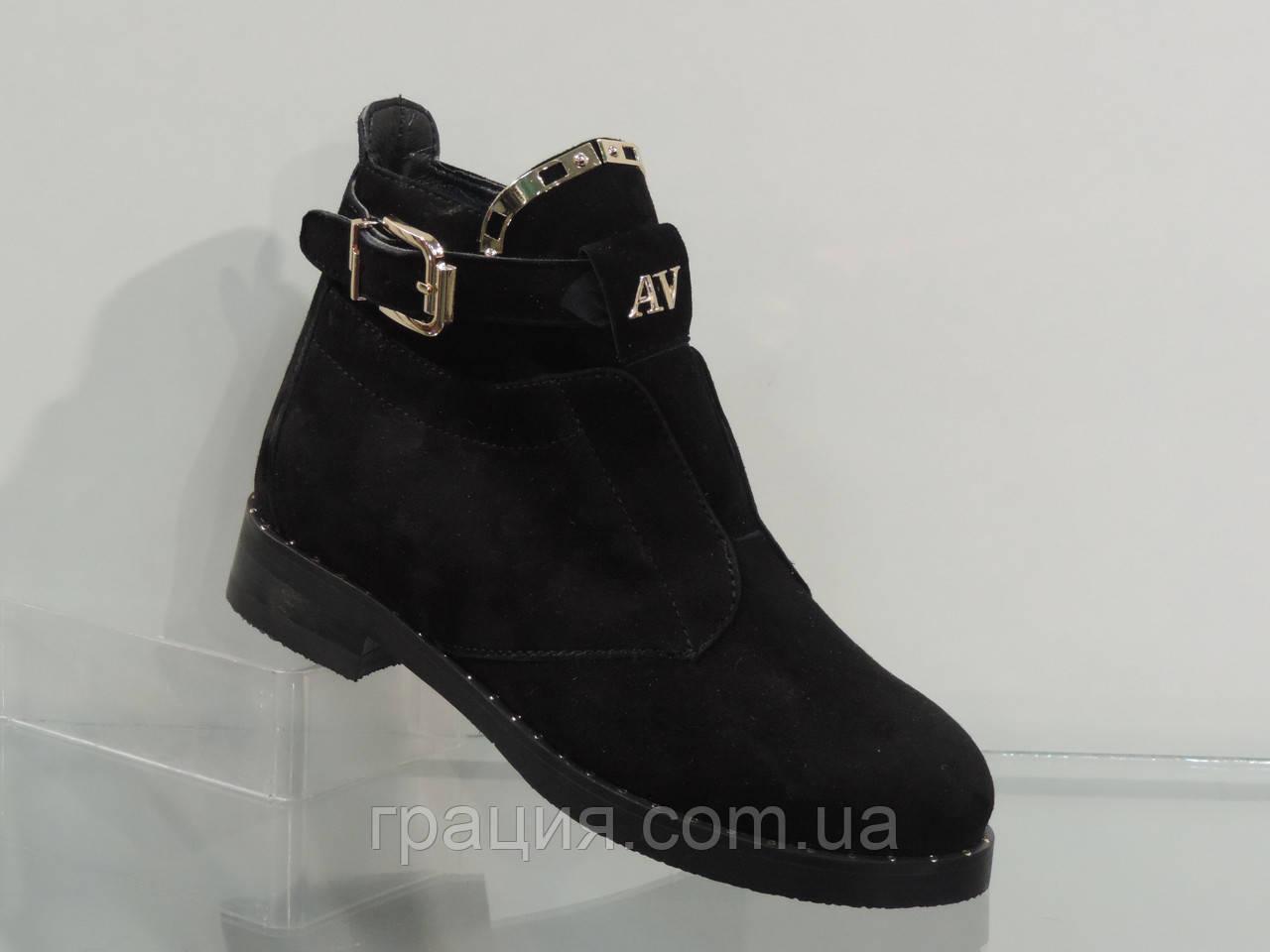 Стильные молодежные зимние замшевые ботинки