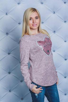 Трикотажная женская кофта с нашивкой персик, фото 2