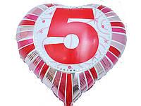 Шар воздушный фольгированный цифра 5
