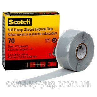 Изоляционная лента 3М Scotch 70, самослипающаяся силиконовая резиновая (25 мм. х 9 м.)