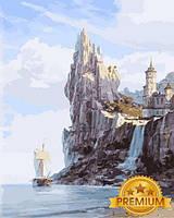 Картины раскраски по номерам 40×50 см. Babylon Premium Белый замок над водопадом Художник Валерий Черненко, фото 1