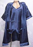 Атласный халат, майка и шортики, комплект для дома