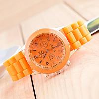 Красивые женские часы Geneva с оранжевым ремешком