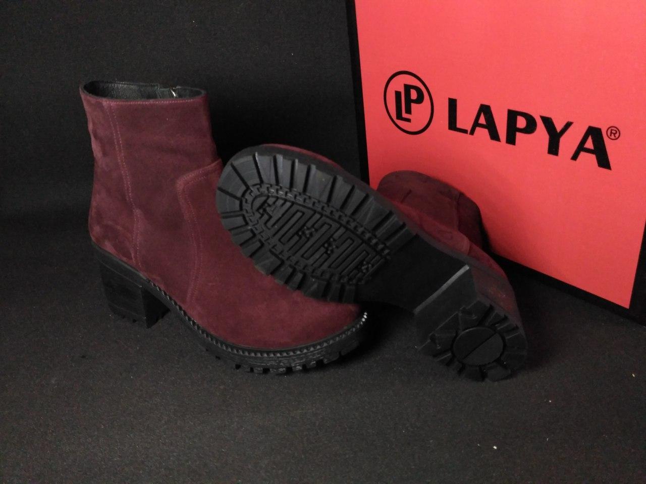 Женские ботинки на широком каблуке зимние (бордовые), ТОП-реплика
