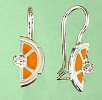 Срібні сережки з цирконом та емаллю