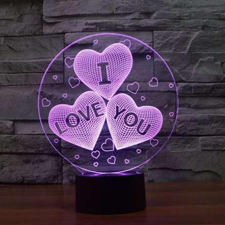 "Светильник ""I love you"" 3d (3д). Меняет 3 цвета"