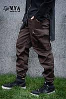Брюки карго мужские коричневые SARCH MAN AND WOLF pants cotton