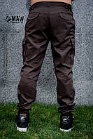 Брюки мужские милитари коричневые MAN AND WOLF карго Cargo pants cotton