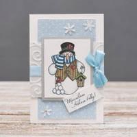 Открытка поздравительная Снеговик ручной работы