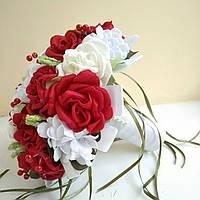 Бело-красный свадебный букет-дублер