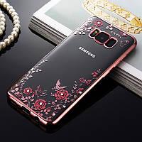 Чехол силиконовый с бампером под металик и цветами Samsung S8+